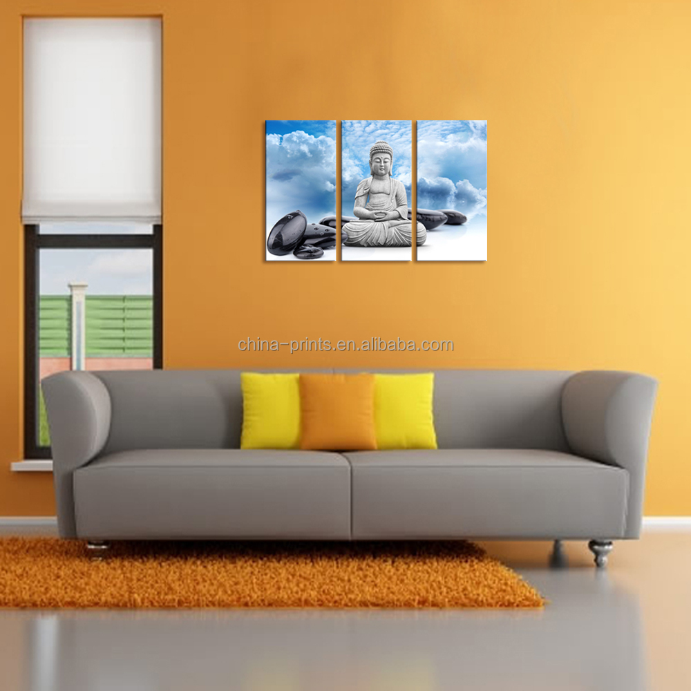 buddha leinwand wandkunst blauer himmel zen spa stein bild gestreckt auf holzrahmen gro handel. Black Bedroom Furniture Sets. Home Design Ideas