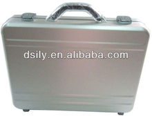 Moulded aluminum laptop attache case ,Shinny silver hard briefcase