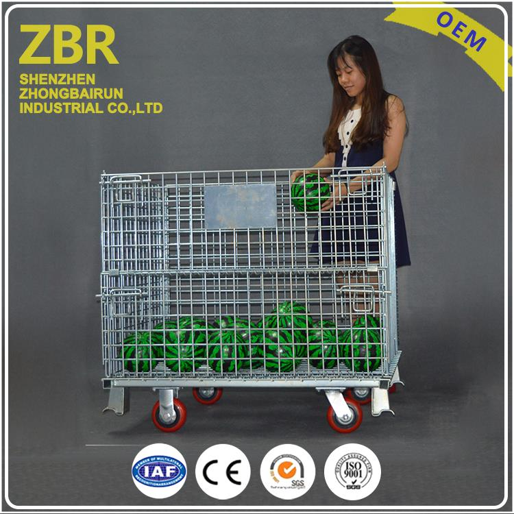 Collapsible mesh metal steel warehouse heavy duty storage cage for transport with wheels