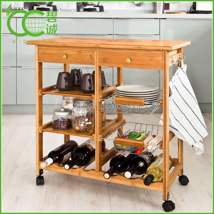 Bamboo kitchen utility trolley, cabinet