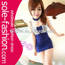 Free Shipping Women See Through Sleeveless Splicing Lace Party Clubbing Mini Dress
