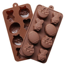 FDA LFGB pass 8 cavities Easter egg rabbit basket 3d silicone chocolate mold, Amazon wholesale Easter 3d silicone chocolate mold