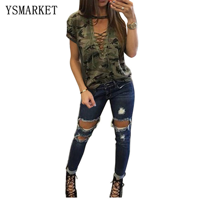 Women's Autumn Short Sleeve Camouflage Print Lace Up Blouse T-Shirt Tops