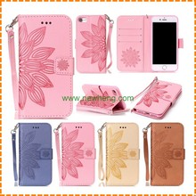 Colored flowers soft flip wallet leather phone case for iphone 7