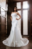 JNXG11 sexy high quality double layered backless pearl beaded heavily appliqued ribbons closed taffeta mermaid wedding dress