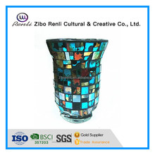 Table Decor Multi Color Mosaic Large Hurricane Bulk Murano Glass Candle Holder