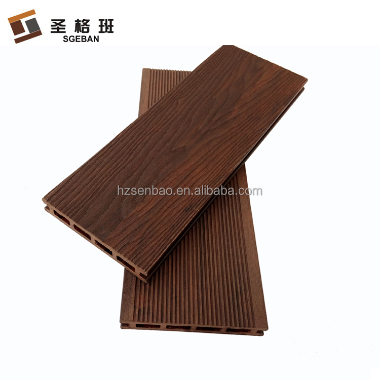 Red with black mixed color composite embossed 3D wood grain outdoor plastic decking WPC board