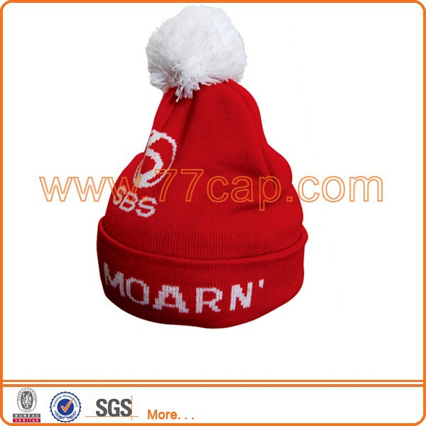 Winter red embroidered beanie hat with pom pom
