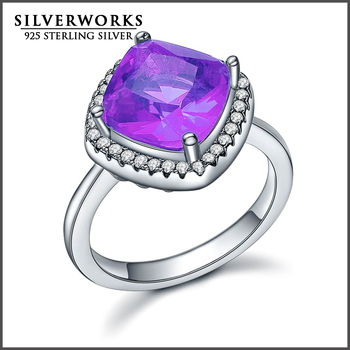 Promotion 925 Silver rings Christmas Gift ring lavender Gemstone Ring