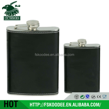 2015 stainless steel hip whisky flask, modern shaped hip flask with leather cover