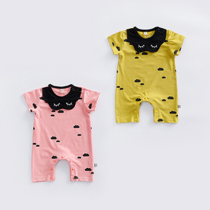 Alibaba Express Wholesale Organic Cotton Adult Baby Floral Smile Face Jumpsuit Romper With Bibs