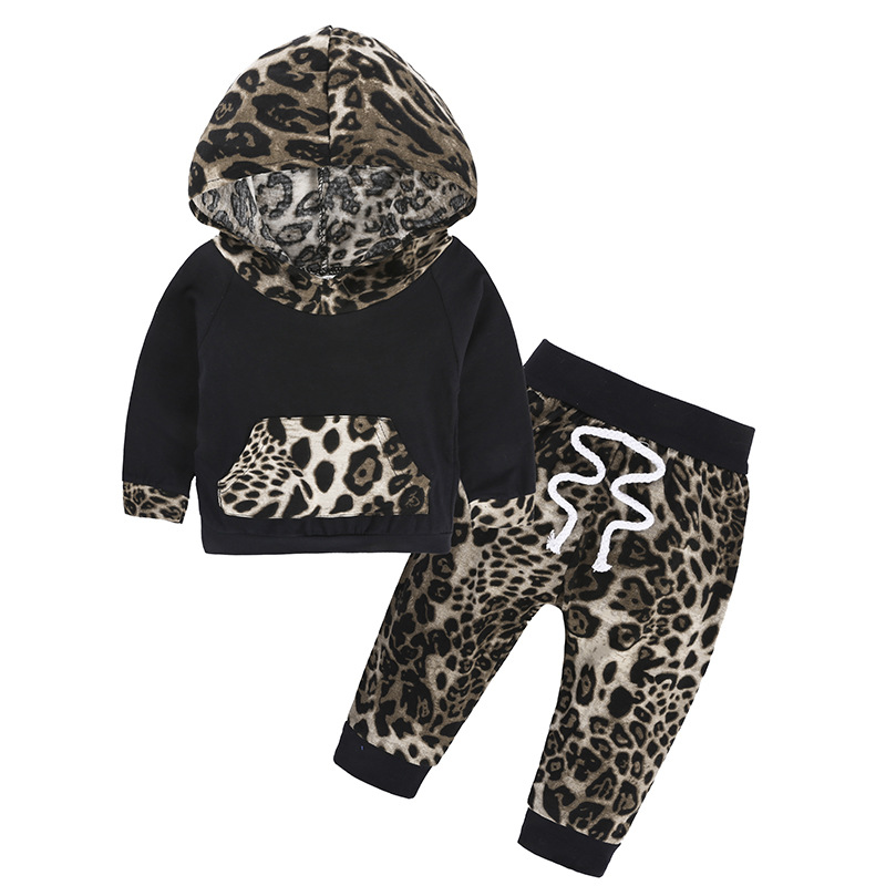 Leopard Baby Girls Clothes Newborn Infant Bebes Hooded Sweatshirt Tops+Pants 2pcs Outfits Tracksuit Kids Clothing Set