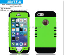 Mobile Phone Hard Plastic Cover Silicone Rubber Gel Skin Hybrid Case for Apple iPhone 5 5S
