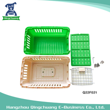 Beige Green Pet Plastic Cage Dog Transport Box