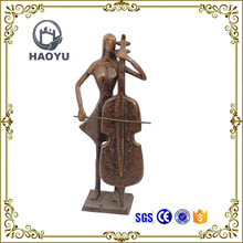 Music metal figurines female playing cello bronze sculpture for home decoration