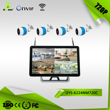 1mp 720P complete wifi cctv system 4ch with 21.5 inch monitor NVR plug and play