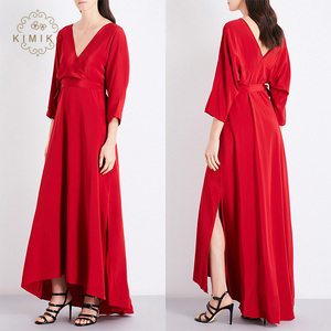 Wholesale Sexy Deep Plunging Red Maxi Kimono Dress