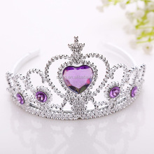 Heart stone plastic Wholesale girls tiara crown crown for birthday party