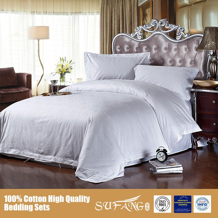Solid White Hotel Use Jacquard Bed Sheet Set Good Quality