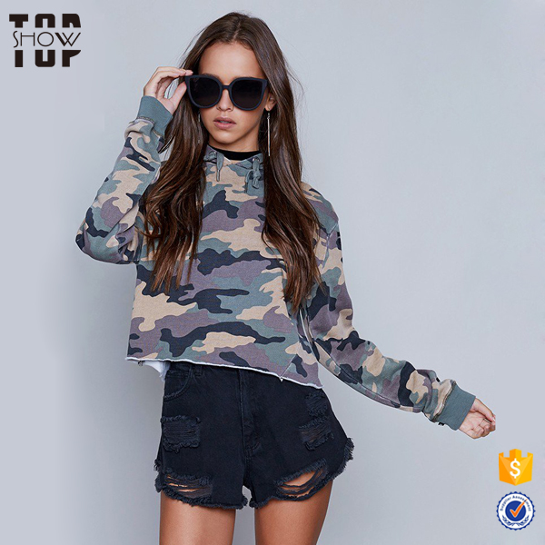 Vintage clothing wholesale womens crop hoodie fleece blank camo hoodies