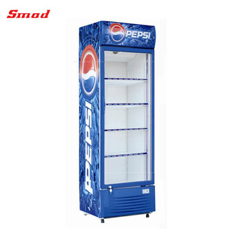 SMAD 280-390L Fan Cooling Supermarket Glass Display Showcase Refrigerator