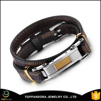 Fashion Length Adjustable Double Layered Stainless Steel Belt Brown PU Leather Bracelet