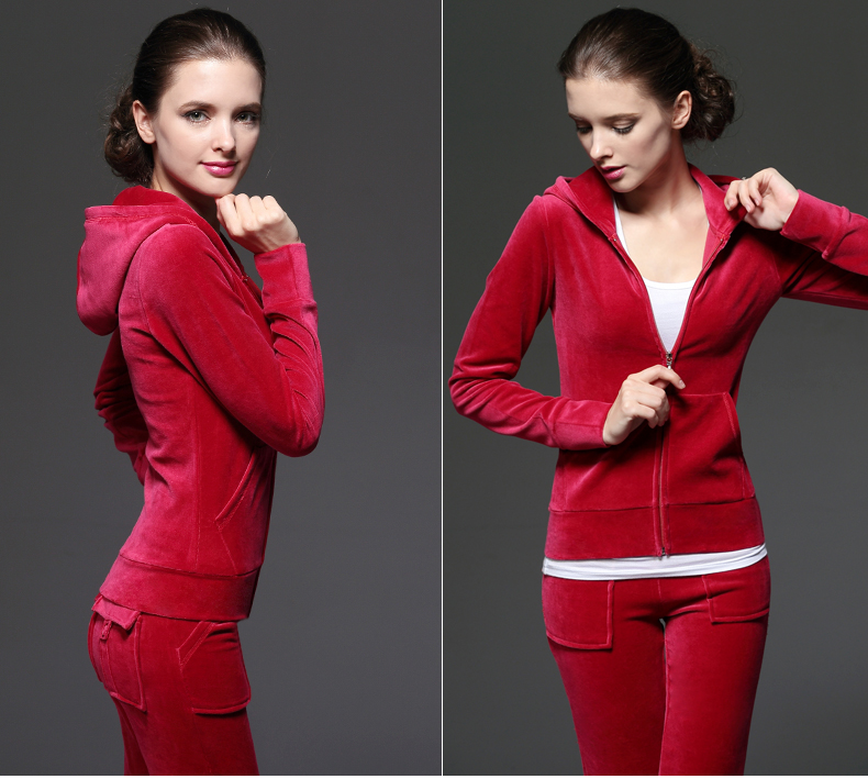Custom Training Jogging Wear Camping Hiking Wear Fitness Yoga Wear 100% Cotton Material women red velour tracksuits