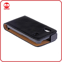 Lexury Black Executive Genuine Leather Flip Case for Samsung Galaxy Ace S5830