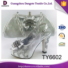 2017 new design women high heel shoes and bag set italian shoes and bags to match women TY6602 in silver