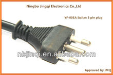 Italian (IT2-16P or S17) 3 pins plug IMQ approved with AC power cords