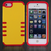 HOT Brief design hard case for iphone with silicone case inside PC+silicone mobile phone case for iphone5/5s