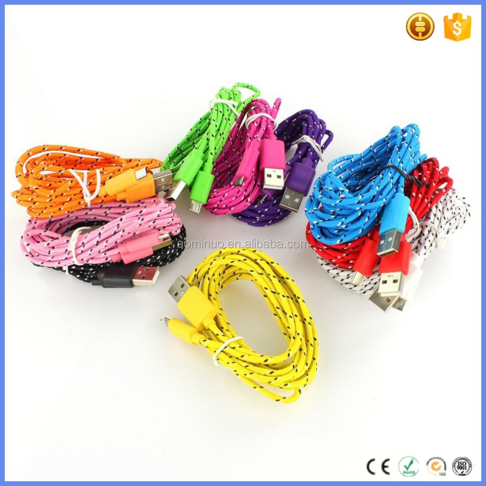 2014 Hot Sell 1M/2M/3M Colorful Micro USB 2.0 Nylon Cable, Round Shape Fabric Braided Cord Data Cable For Andriod Mobile Phone