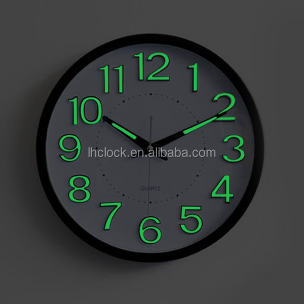 silent movement glow in dark wall clock