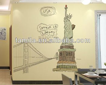 art pvc home decor statue of liberty wall sticker living room decor wall paper