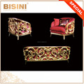 New Classical Engraved Nouveau Red And Glitter Gilding Furniture House Sofa Set