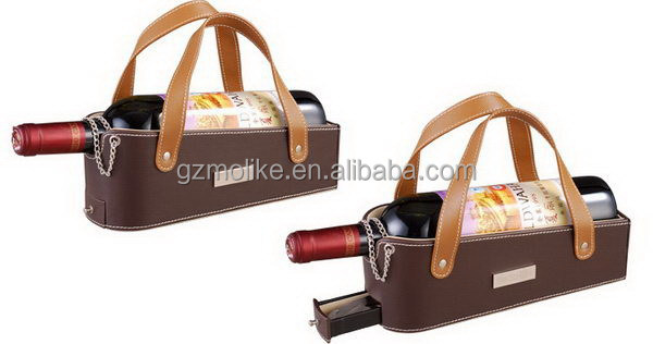Popular new coming leather wine carrier for one bottle