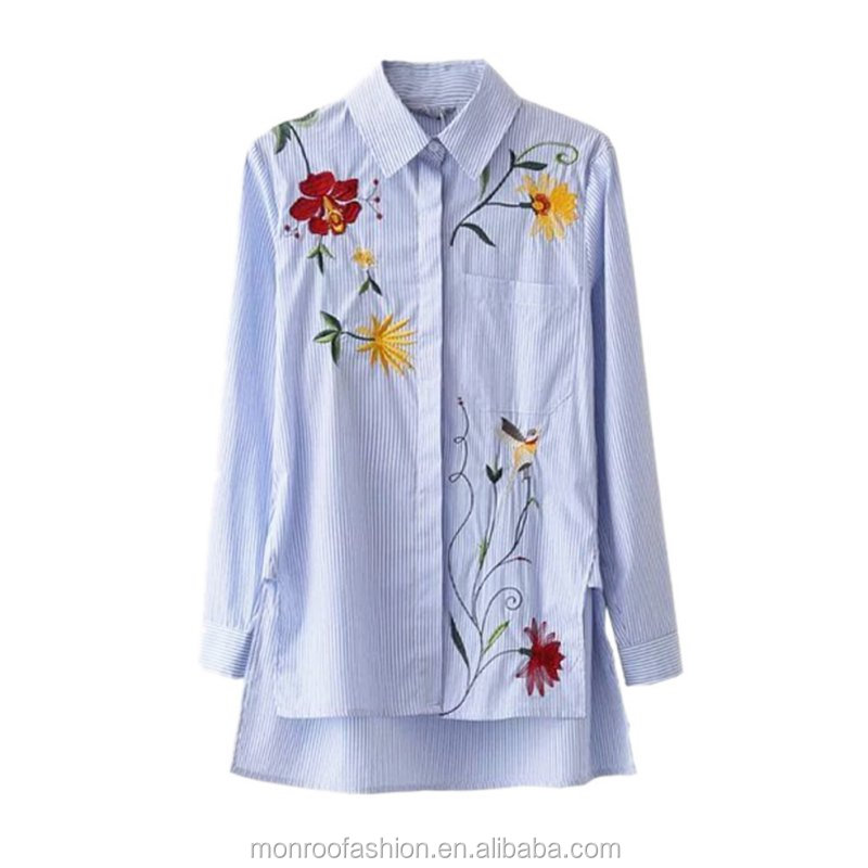monroo Casual bird pattern chemise femme Chic floral embroidered women blouses Winter long sleeve striped shirt women tops