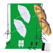 Photography Lighting Kit Set with 45W Daylight Studio Bulbs Light Stands Backdrop Soft Reflector Umbrellas