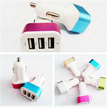 3 USB Port multi usb port Car Charger For Smart Phone with many color choice for 2.1A