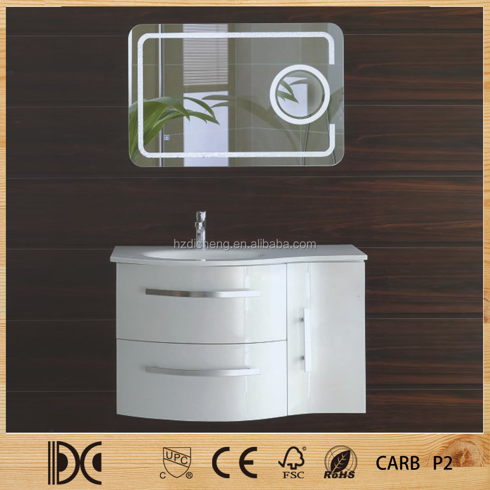 Wall Hung White High Gloss Painting Irregular Shape Bathroom Vanity Modern MDF Bathroom Cabinet
