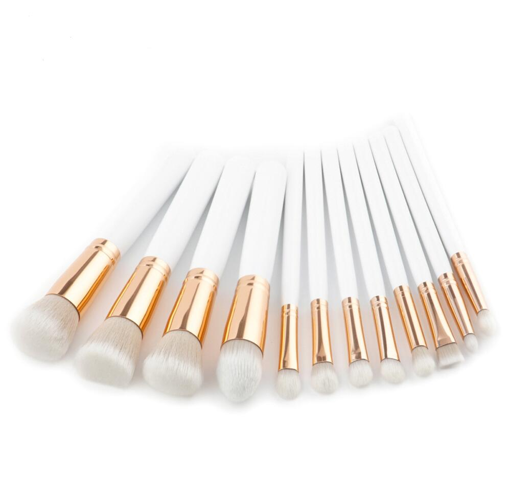 12 pcs White Handle Kabuki Makeup Brush Set