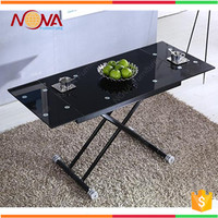 Modern wholesale cheap used stainless steel high gloss extendable adjustable height dining table