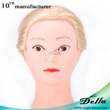 Hairdressing Training Head Dummy Model Mannequin Head with Clamp Brown 90% Human Hair Synthetic Hair
