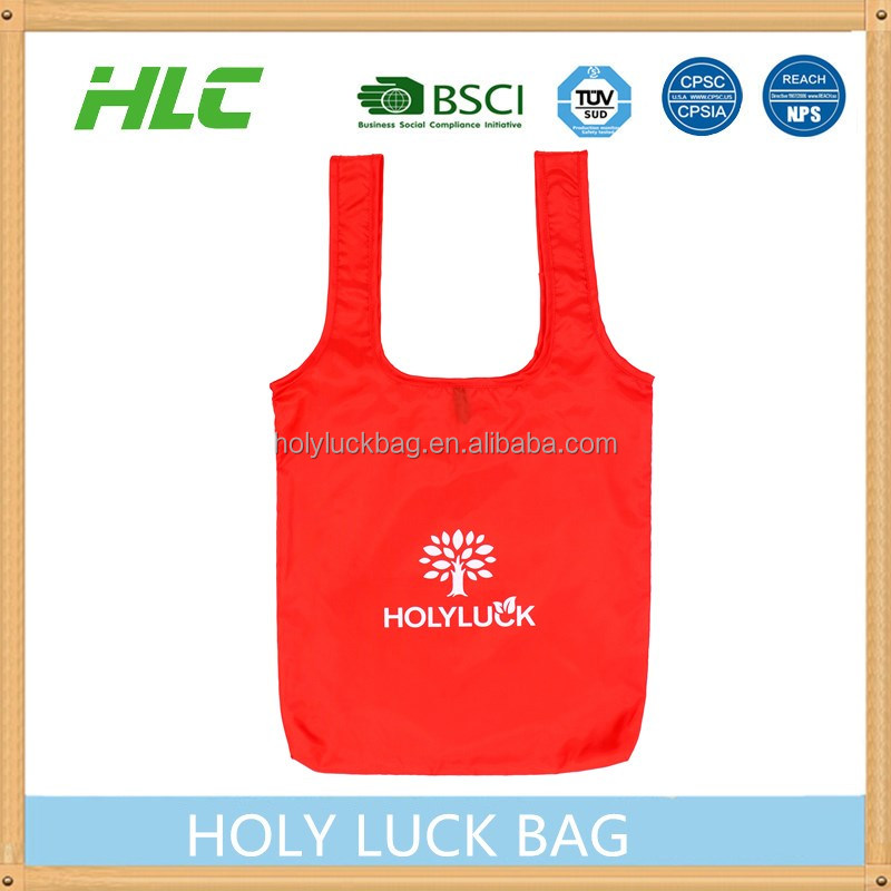 Long handle polyester recycle shopping bag