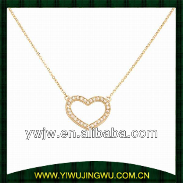 High Polish Pave CZ Open Heart Design 14K Yellow Gold Pendant Necklace