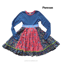 2017 remake kids girls 100% cotton clothing lcasual fall winter boutique flower dress