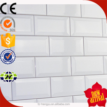high quality white mirror wall tile beveled 75x150mm 3x6 inch