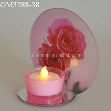 Valentine's Day rose flower glass candle holder