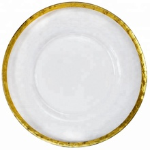 Wholesale New Gold Silver Rimmed Glass Charger <strong>Plate</strong>