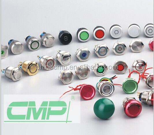 CMP 22mm metal colored button LED head illuminated push button switch IP67 custom symbol